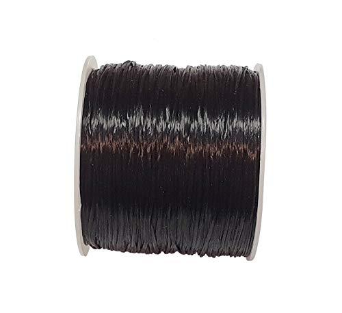 1 rollo de hilo elástico de color negro para manualidades, hilo de goma, joyas, pulsera con fibra, 1,00 mm, 70 m