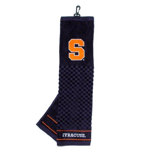 Team Golf NCAA Syracuse Orange Embroidered Golf Towel, Checkered Scrubber Design, Embroidered Logo