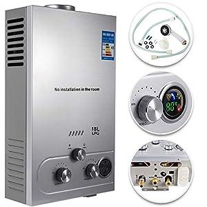 VEVOR Calentador de Gas, Calentador de Agua de Gas 6L/8L/10L/12L/16L/18L Calentador de Agua a Gas LPG, Calentador Gas Propano Gas Butano, Calentador de Agua (18L)