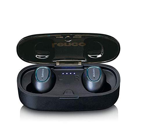 Lenco EPB-410 Bluetooth Kopfhörer - True Wireless In-Ear Kopfhörer mit Lade-Etui 400mAh - 2,5 Stunden Spielzeit - IPX4 Wasserdicht - Bluetooth V4.2 - Schwarz