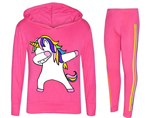 Girls Unicorn Hooded Top and Leggings Tracksuit Set Dab Floss 3
