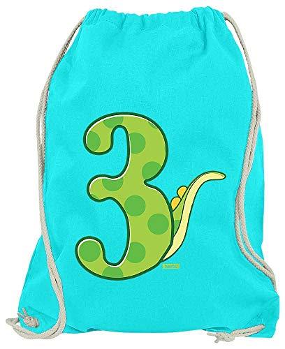 Hariz Turnbeutel Dinosaurios Número con cola 3 cumpleaños Geschenkidee Plus Geschenkkarten, azul azur (Azul) - DritterGeburtstag07-WM110-35-1