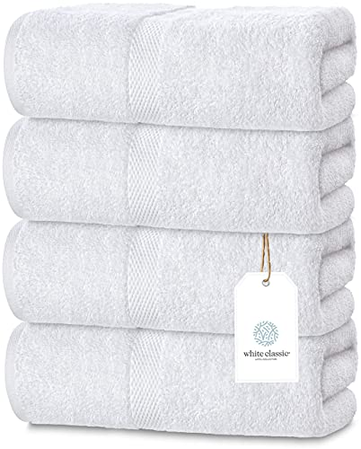 White Classic Luxury Bath Towels Large - Cotton Hotel spa Bathroom Towel | 30x56 | 4 Pack | White