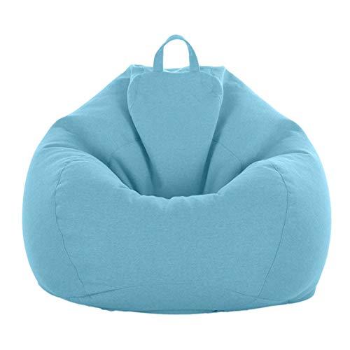 AMGJ Sitzsackhülle ohne Füllung, Premium Leinen Stoff Sofa Sitzsack Bezug Hülle für Kinder und Erwachsene,Light Blue,80x90cm