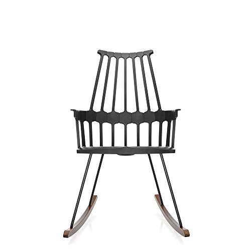 Kartell Comback Black Rocking Armchair with Oak sled