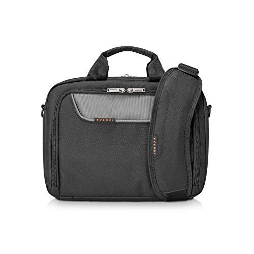 Everki Advance – Laptoptasche für Notebooks bis 11,6 Zoll (29,4 cm) mit iPad / Tablet-Fach, Zubehör-Fach, kontrastreichem Innenfutter und Trolley-Lasche, Schwarz