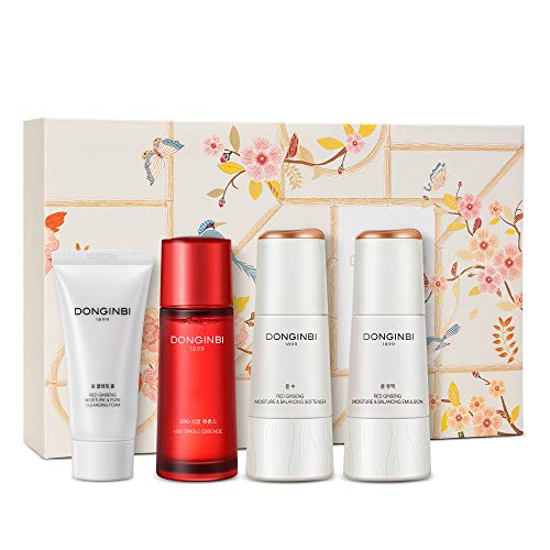 DONGINBI Korean Red Ginseng Essential Care Set, Anti-Aging & Hydration, 1899 Single Essence, Moisture Lotion, Toner and Cleansing Foam For All Skin Type by KGC