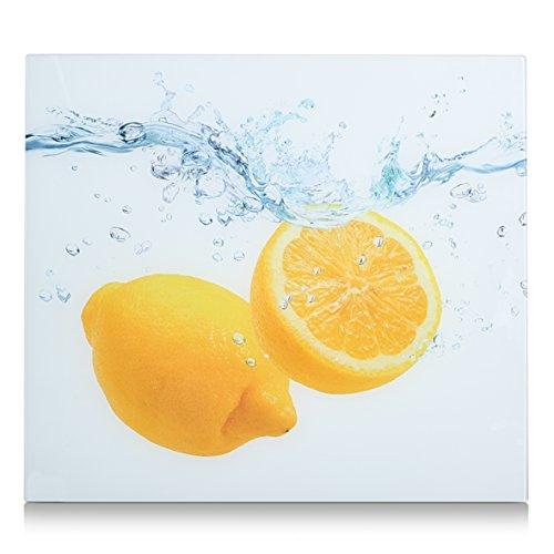 Zeller Herdblende-/Abdeckplatte Lemon Splash, Glas, 56x50x2 cm