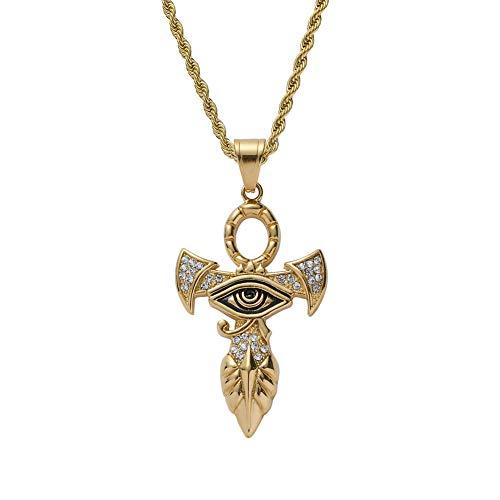 Moca Jewelry Hip-Hop Horus - Collar con colgante de cruz de acero inoxidable y cristales de estrás para hombre y mujer