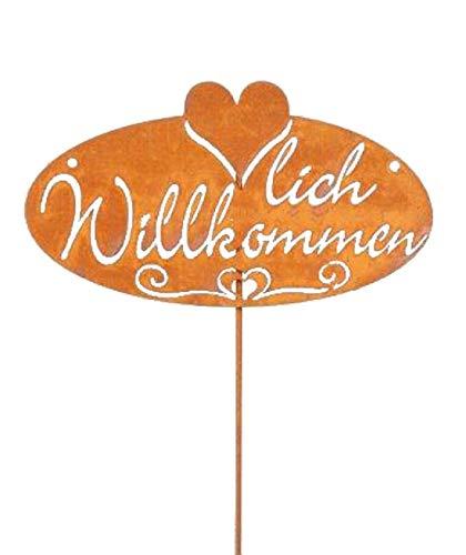 Decpero Gartenstecker Schriftzug Herzlich Willkommen+ Herz / 60 cm/Metallstecker