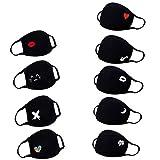 9pc anime cartoon mundschutz Baumwolle Anti-Staub Mode Kawaii süße mundschutz wiederverwendbare schwarz mit motiv (Schwarz)