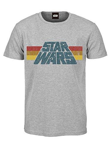 Star Wars T-Shirt mit Vintage Logo 1977 - grau Bedruckt - Baumwolle (L)
