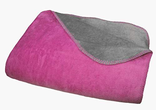 Moon Doubleface Wolldecke Kuscheldecke 150x200 (pink/anthrazit)