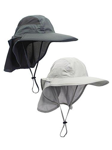 WANYING 2 Stücke Unisex UV Schutz Sonnenhut mit Nackenschutz 12cm Großer Brim Outdoor Aktivitäten - für Kopfumfang 56-62cm Hellgrau & Dunkelgrau