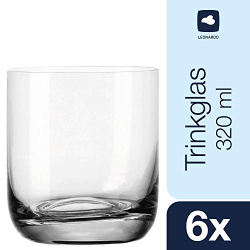 Leonardo Trinkglas Daily, 6-er Set, 320 ml, Wasserglas, Saftglas, Longdrinkglas, Becher, spülmaschinenfest, Teqton-Glas, 063324
