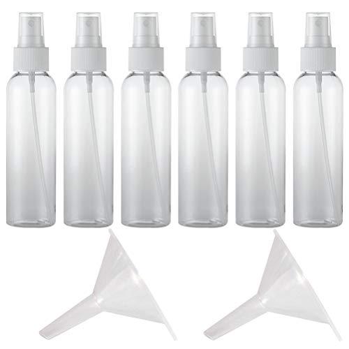 Lurrose 20Pcs 60Ml Bouteilles de Pulvérisation Vides avec 2Pcs Entonnoir Bouteilles de Pulvérisation de Brouillard en Plastique Transparent