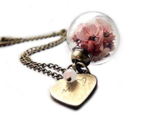 Ladyville Echte Blüten Kette - Ginster mit Herz und Buchstaben geprägt/Personalisiertes Geschenk/Geburtstagsgeschenk/Geschenk für Verliebte