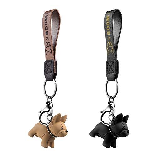 ifundom 2 Piezas Bulldog Francés Llavero de Cuero Llavero de Coche Colgante Regalo Monedero Bolso Mochila Encanto para Teléfono Bolso Cinturón Mochila Regalos de Cumpleaños