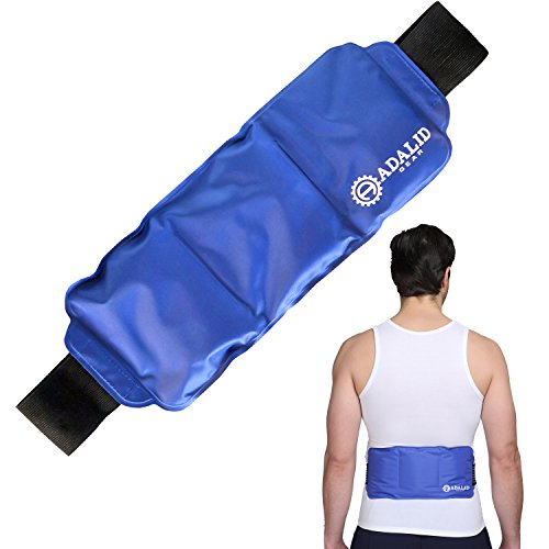 Back Gel Ice Pack Wrap: Pain Relief Heat Pad for Hot & Cold Therapy on Large Body Parts (Upper & Lower Back, Torso, Shoulder, Lumbar, Hip, and Waist)   Adjustable, Flexible, Microwaveable & Reusable