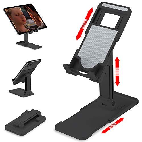 Faltbar Handy Ständer für Tisch Schreibtisch - Winkel Höhe Verstellbar Handy Ständer für iPhone 10 11 Pro X Xr Xs Max 7 8 Plus Samsung iPad Tablet, ausziehbarer Halter und schwere Basis mit Metall