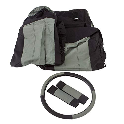RAMPAGE PRODUCTS 5056521 Black/Grey Polycanvas Front Seat Covers, Belt Pads and Steering Wheel Cover for 1997-2002 Jeep Wrangler TJ