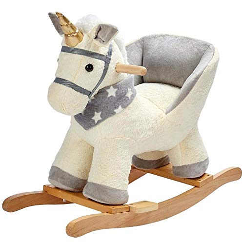 BAKAJI Unicorno a Dondolo Cavalluccio Cavalcabile Peluche Giocattolo per Bambini con Effetti Sonori Maniglie e Cintura di Sicurezza Beige