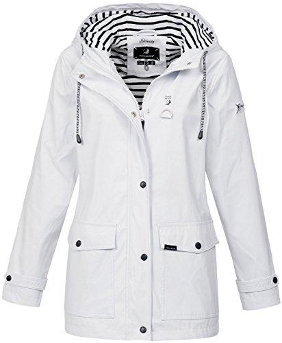 Voile Bleue Damen Regenjacke Parka Biarritz Kapuze White XL