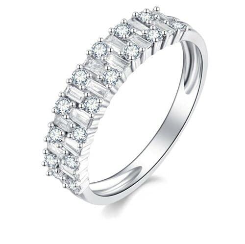 Anillo de eternidad de 6 mm - 1,50 quilates de diamantes redondos y baguette, oro blanco de 18 k, Platino, Diamond,