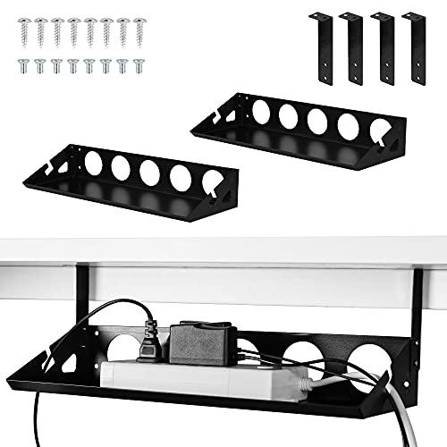 Bandeja de gestión de cables debajo del escritorio, 2 paquetes, soporte para cables debajo del escritorio de 40,6 cm para gestión de cables para escritorios, oficinas