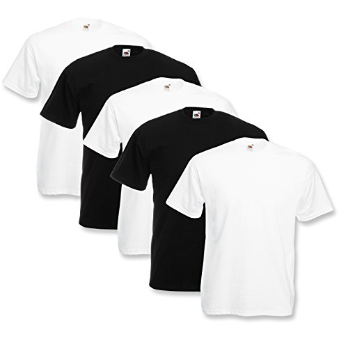 5 Fruit of the loom T-Shirts Valueweight S M L XL XXL XXXL 3XL Diverse Farbsets auswählbar 100{16510bd2c60497c82695086832f8fd8f50a4de9d83295f3b975cca74cba52351} Baumwolle (XL, Farbset 1)