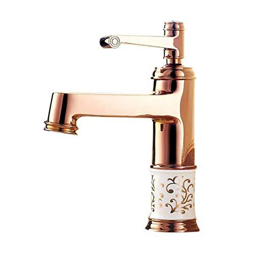 Grifo, todo el cobre Mezclador de lavabo caliente y frío Grifo de porcelana azul y blanca oro rosa antiguo (color: oro rosa)