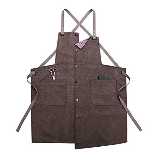 Huanpin jeans-schort met grote zakken voor mannen en vrouwen - professionele kapper, tattoo-artiesten, kelneres | keukenschort met foto en tekst personaliseerbaar