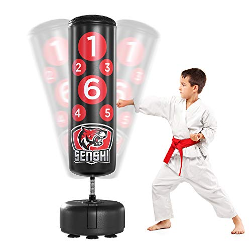 Senshi Japan Children's 4ft Free Standing Punch Boxing Bag - Perfect For Junior Practice Boxing, Karate, Muay Thai, Tae Kwan Do Kids Development - Made Of Auth Rex Leather