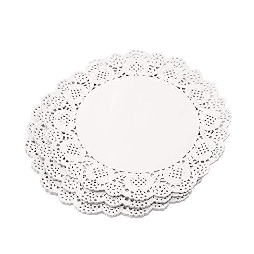 Eqlef, centrini di carta con bordo in pizzo, diametro 16,5cm, per feste e matrimoni, confezione da 150 pezzi., White, Rotondo