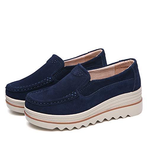 Los Zapatos De Mujer Se Inclinan Con Zapatos Individuales De Pequeño Tamaño Madre De Tacón Alto De Las Mujeres Moler Zapatos Mecedoras De Sol Suave De Sol Grueso Otoño 42 41 Azul
