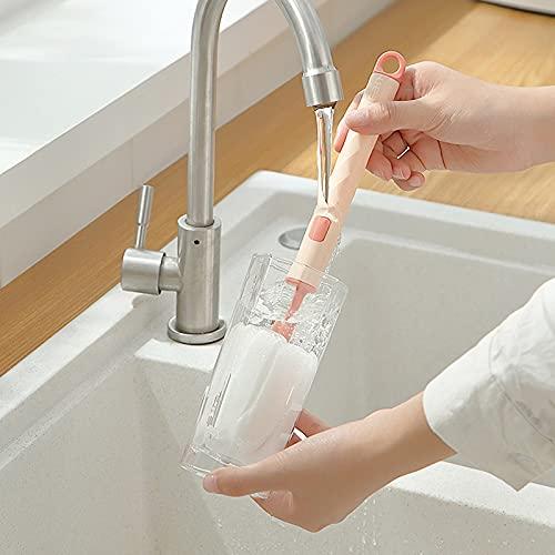 Cepillo de limpieza de cabeza de esponja mango largo que cuelga cepillo suave de limpieza del depurador de botella para la cocina