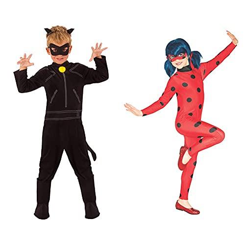 Rubies Ladybug Disfraz de Cat Noir para niños, talla 7-8 años (Rubie'S 640904-L) + Ladybug Disfraz para niños, Talla S (3-4 años)