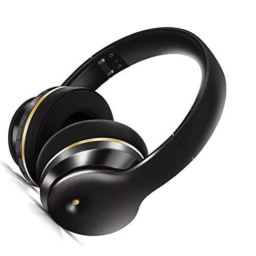 Wsaman Cascos Inalambricos Bluetooth 5.0 Auriculares, Auriculares De Estudio con Bass Surround/Reducción de Ruido/Control de Volumen para PC/TV/Móvil, Auriculares Diadema,Negro