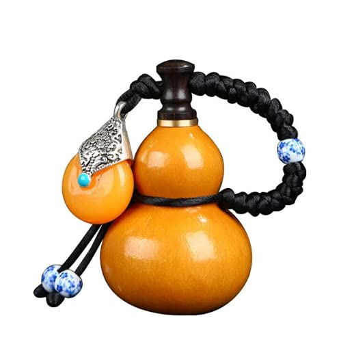 AMZAG Chinese Peach Gourd,Dry Gourd,Gourd Wine Water Bottle,Good Luck Wooden gourds Ornaments Decoration Home Crafts Treasure and Ornaments,Beeswax Anti-Seepage,with Cork,5-7cm Gourds Mini Cute
