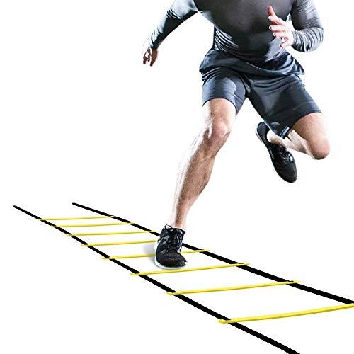 OhhGo Escalera de Agilidad Salto Ajustable Cuerda peldaños peldaños al Aire Libre Equipo de Entrenamiento de Velocidad de Fitness para niños Adolescentes Entrenamiento de Ejercicio de fútbol