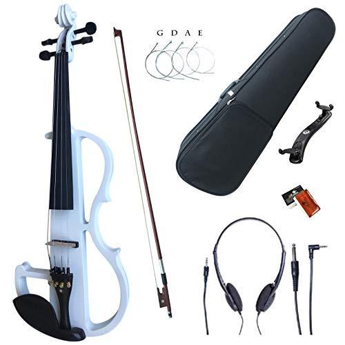 Esound 4/4 Weiß Farbig Massivholz Elektrische Violine Leise Geige mit Ebenholz Beschläge (Volle Größe)