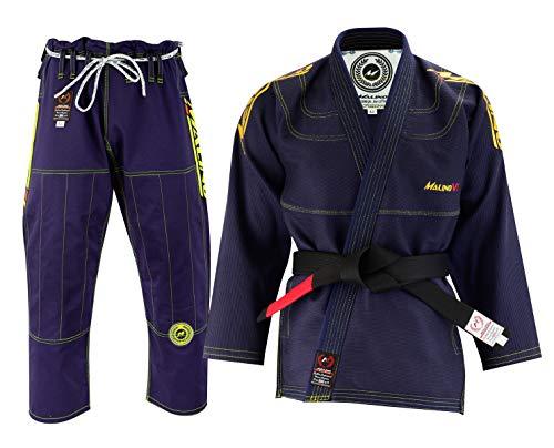 Malino BJJ Gi Kimono Brasiliano Jiu Jitsu Uniforme Pesante 550 g/mq 100% Cotone Perlato Intrecciato Blu Navy, A3