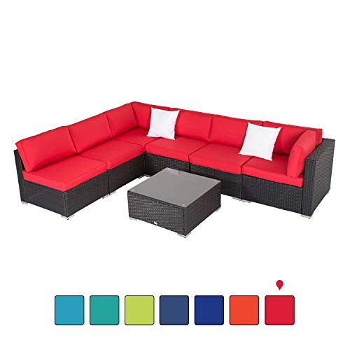 Peach Tree 7 PCs Outdoor Patio PE Rattan Wicker Sofa Sectional Furniture Set with Red Cushion, 2 Pillows and Tea Table
