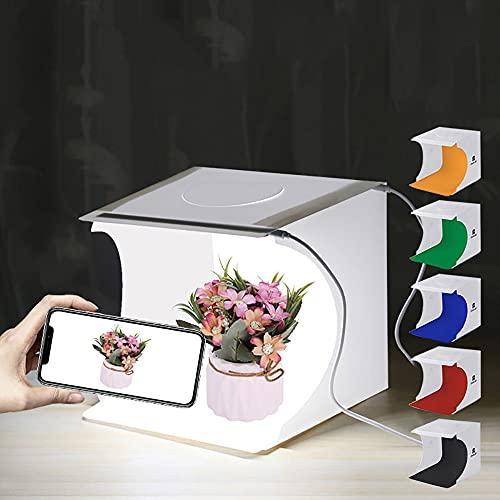 20cm Caja de Luz Fotografía con Tira de 2 LED y 6 Fondos de Colores (Negro Blanco Amarillo Azul Verde Rojo)