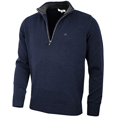 Calvin Klein Golf Hommes Pull en Coton - Marine - S