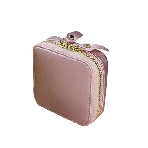 Joyero de viaje, caja de joyería portátil con anillo, pendientes de oreja con cierre de cremallera, bolsa de almacenamiento de joyas