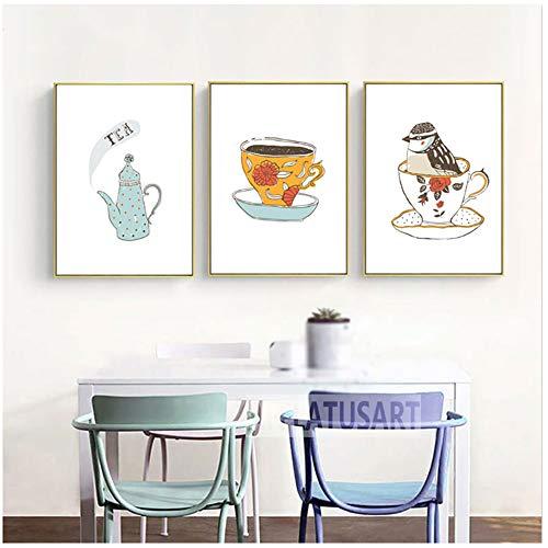 YANGDINGYAO canvas schilderkunst moderne wooncultuur Scandinavische stijl theepot vogel canvas foto's muurkunst prints minimalisme schilderij 50 x 70 cm geen lijst