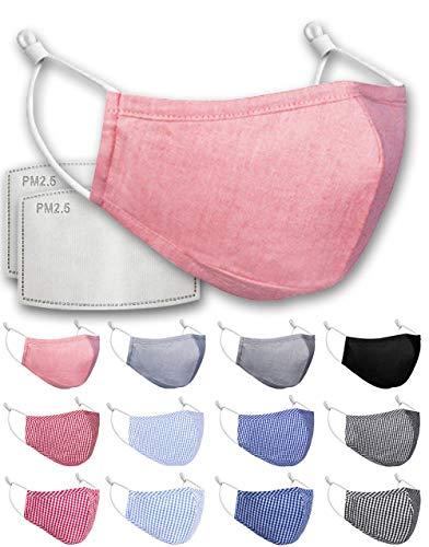 Luftty Kinder Behelfs-Mundschutz mit Filter PM2.5, Alltagsmaske Set für Junge Mädchen, wiederverwandbare Baumwoll Stoff Maske, waschbare Gesichtsmaske mit vielen Motiven (Rosa)