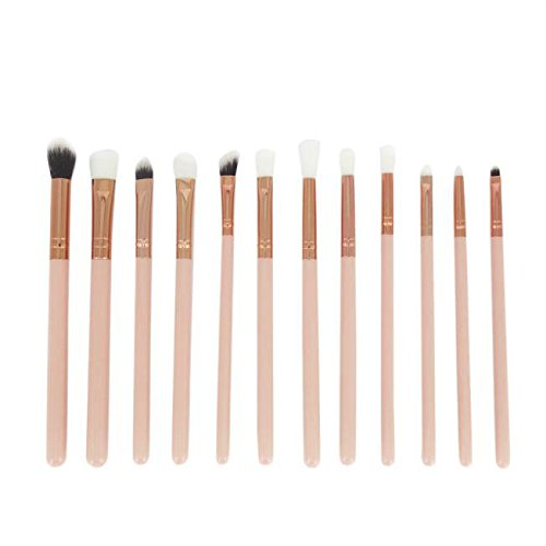 kit de Brochas Sannysis set de Brochas Mini pinceles de cejas 12PCS (Oro)