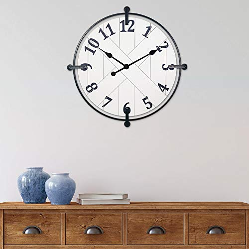 PresenTime & Co Farmhouse Series Barn Door Clock, 24 inch, Silent No Ticking, Solid Wrought Iron, Elegant Cream White Color